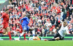 Demba Ba scores at Anfield