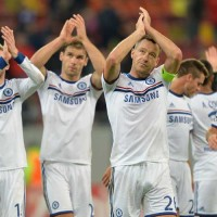The team applaud the travelling support at Steaua Bucharest
