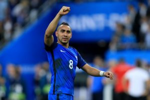 France's Dimitri Payet celebrates after the final whistle