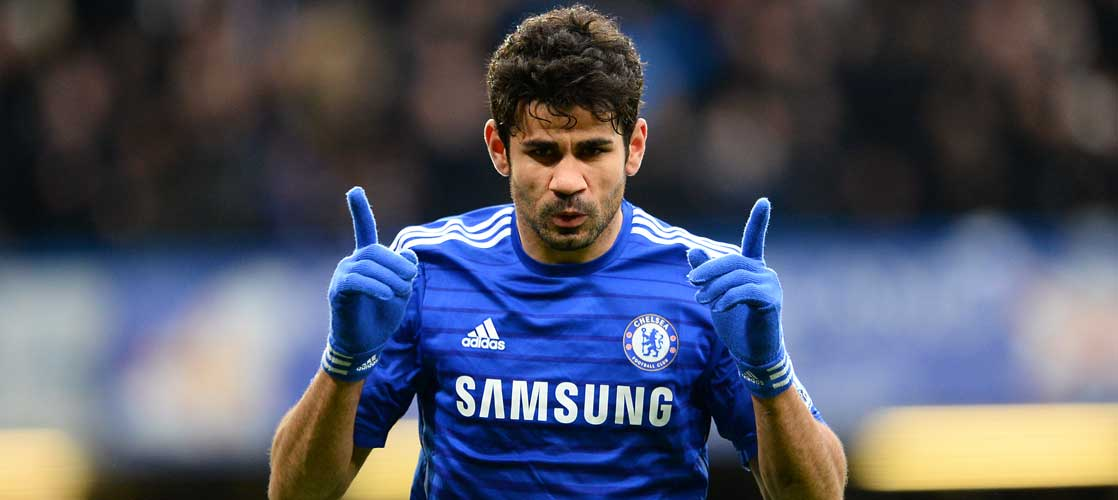 Costa celebrates against West Ham Utd