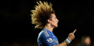 David Luiz in action against Aston Villa