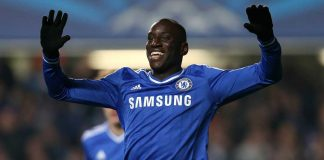 Demba Ba celebrates against Steaua