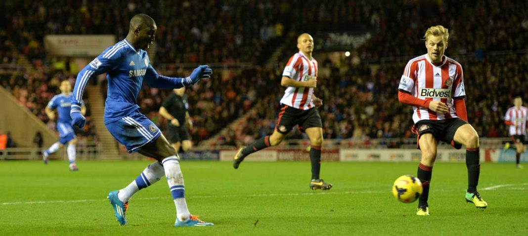Demba Ba in action against Sunderland
