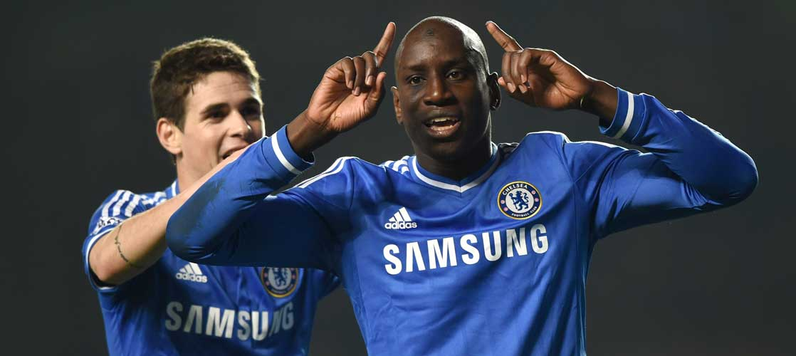 Demba Ba celebrates scoring against Tottenham