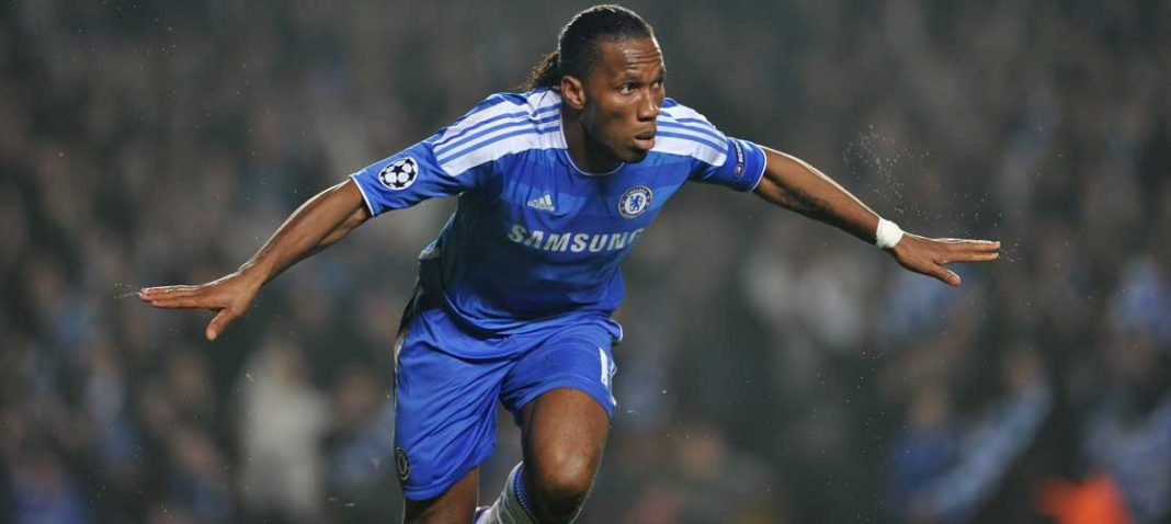 Didier Drogba scores for Chelsea in a Champions League fixture
