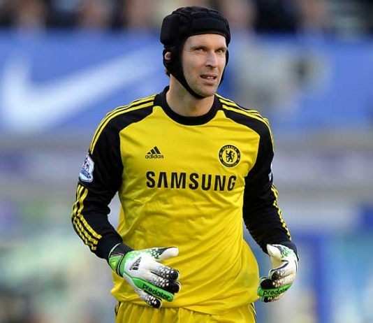 Petr Cech in action against Everton