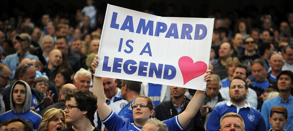 Chelsea fans show their support for Frank Lampard