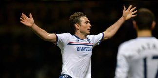 Frank Lampard celebrates against West Ham United