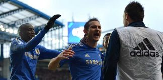 Frank Lampard celebrates scoring against West Ham United