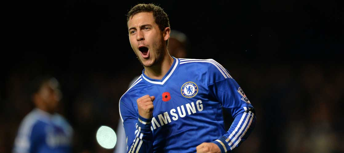 Eden Hazard celebrates against West Bromwich Albion
