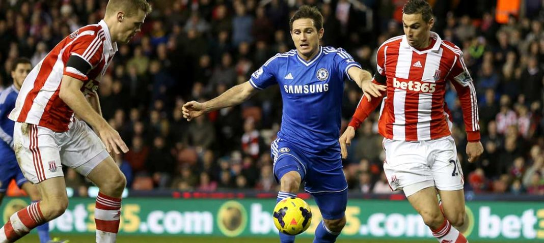Frank Lampard in action against Stoke City