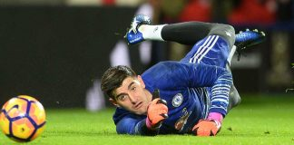 Thibault makes a save against Leicester City