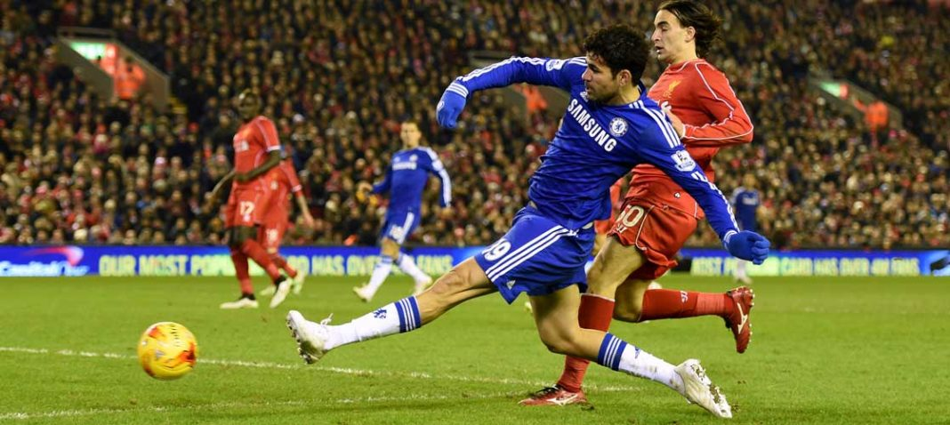 Costa in action against Liverpool