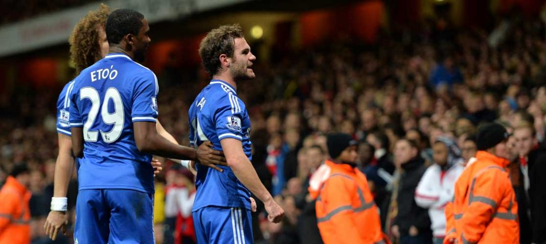 Mata celebrates scoring against Arsenal