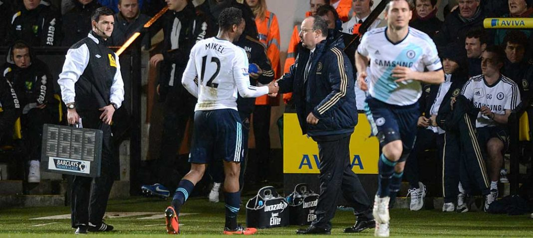 Mikel is substituted against Norwich City at Carrow Road