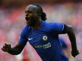 Victor Moses in action against Arsenal