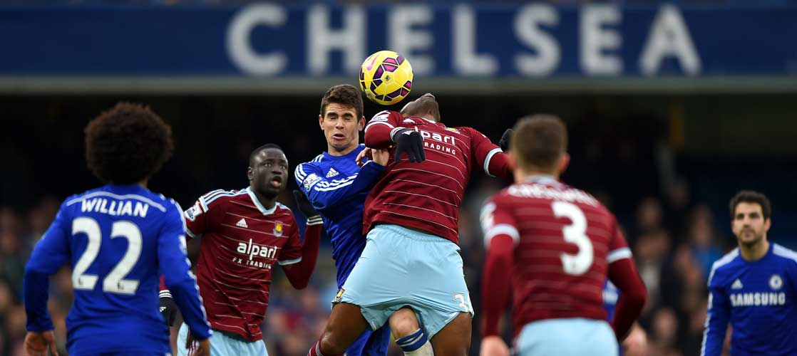 Oscar in action against West Ham United