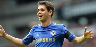 Oscar celebrates against Liverpool