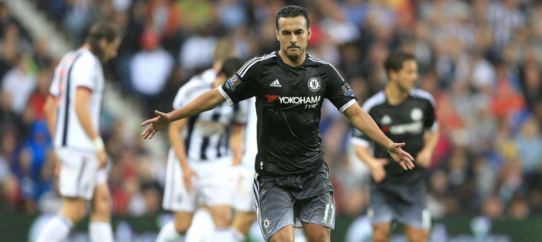 Pedro in action against West Bromwich Albion