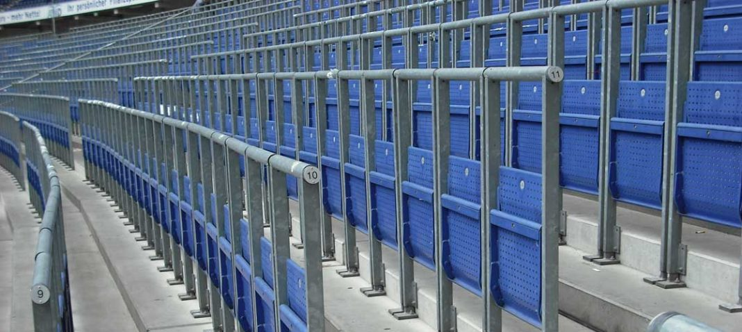 Safe standing area fitted with rail seats