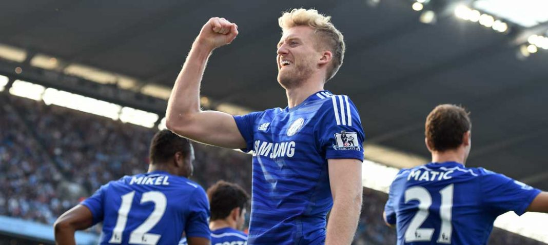 Schurrle celebrates against Manchester City