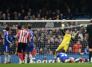 Thibaut Courtois in action against Southampton.