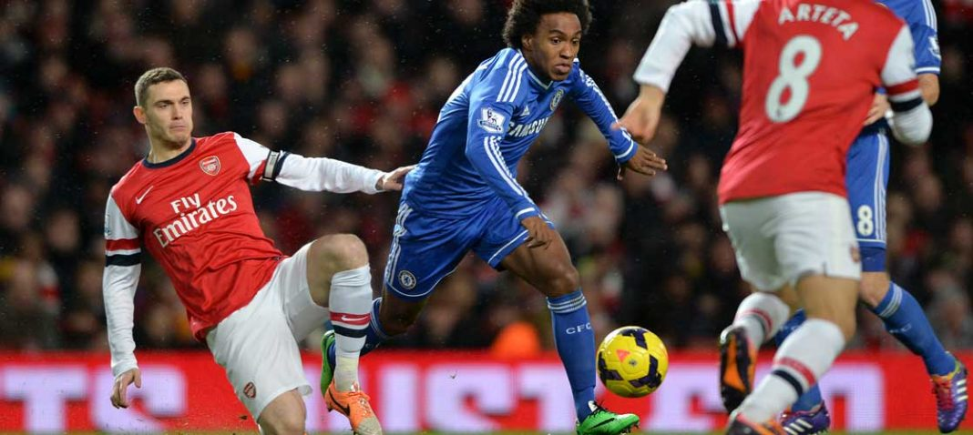 Willian in action against Arsenal