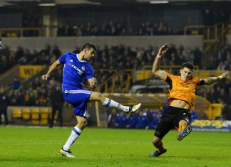 Costa scores against Wolves
